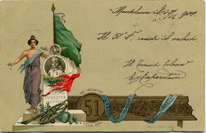Cartolina Militaria - 51º Reggimento Fanteria già Cacciatori delle Alpi.