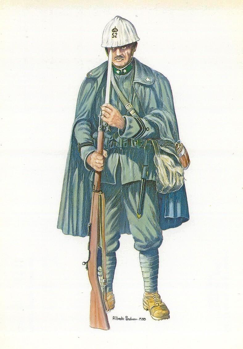 """Caporal Maggiore del 52° Reggimento, Brigata Alpi (""""Cacciatori delle Alpi"""") 1915-18."""
